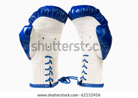 Combative sports equipment on white background