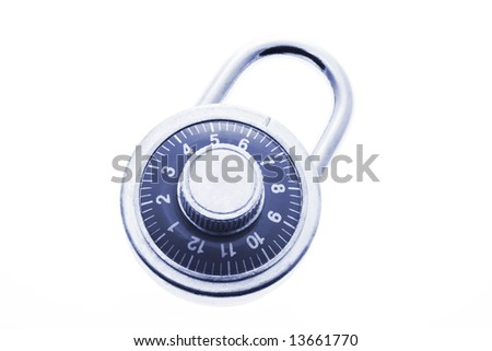 Combination Lock in Blue Tone on White Background