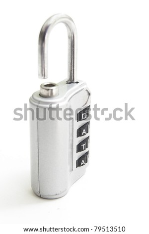 "combination lock with ""data"" code password, on white"