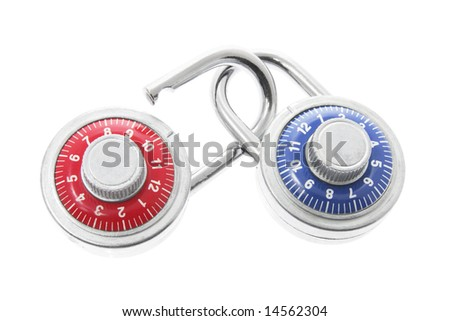 Combination Locks on White Background