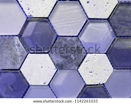 combination of glass and stone hexagons in purple tones, wall design material #1142261033