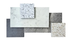 combination of interior flooring material samples contains grey granite ,grey slate ,white marble ,white and beige terrazzo samples isolated on white background with clipping path.