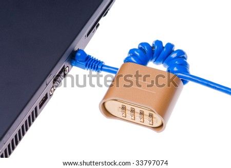 Combination padlock on internet cable plugged into notebook computer