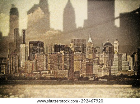 Combination view of New York in pencil drawing style. Manhattan #292467920