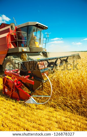 combine harvester close up