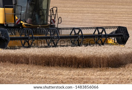 combine harvester cutting wheat in a field. Close-up on the front of the machine. #1483856066