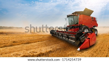 Combine harvester on the wheat field Stockfoto ©