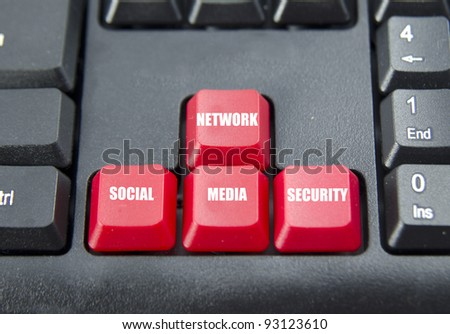 Combine word of social media on red keyboard button.