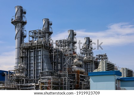 Combined-Cycle Power Plant 2 Block is consist of gas turbine generator 2 units heat recovery steam generator 2 units and steam turbine generator 1 unit per each block.  Foto stock ©