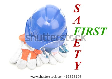 Combined of three item personal protective equipment (PPE) with input of safety first isolated on white background.
