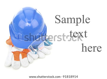 Combined of three item personal protective equipment (PPE) with input of sample text isolated on white background.