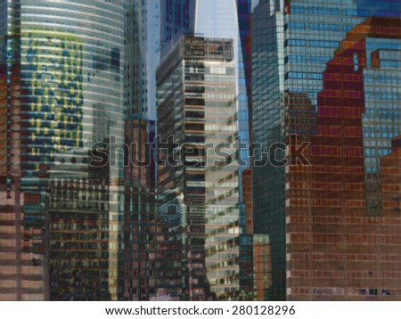 Combined view of skyscrapers. New York City