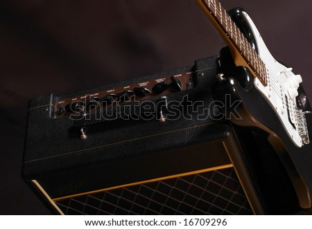 Combo and guitar - stock photo