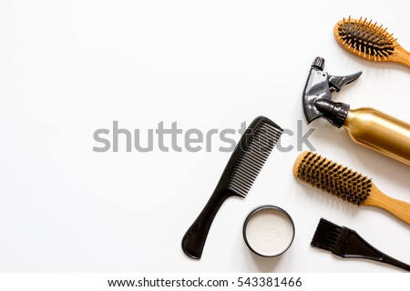 combs and hairdresser tools on white background top view #543381466