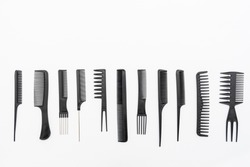 Combs arranged on a white background