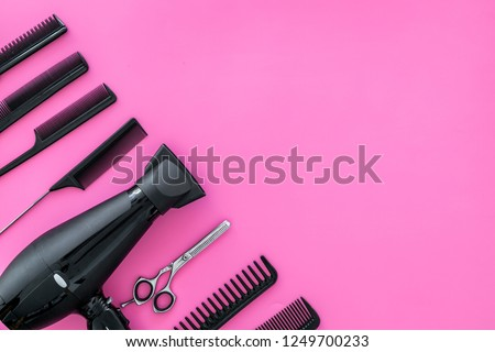 combs for hairdresser hairdresser on pink background top view mock-up