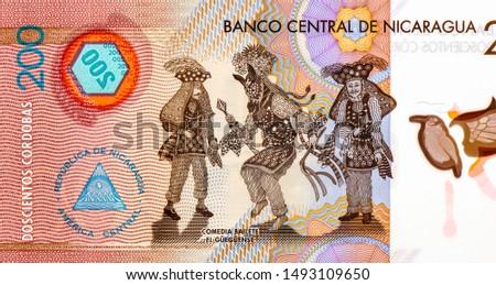 Comedia Bailete El Gueguense. portrait from Nicaragua 200 Cordobas 2014 Banknotes. Nicaraguan money Closeup Collection. #1493109650