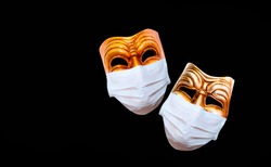 Comedy and tragedy theatrical mask  wearing protection medical mask for Corona virus (Covid-19)