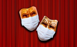 Comedy and tragedy theatrical mask wearing protection medical mask for Corona virus (Covid-19) - Red theater curtain