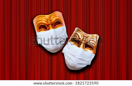 Comedy and tragedy theatrical mask wearing protection medical mask for Corona virus (Covid-19) - Red theater curtain Stock fotó ©