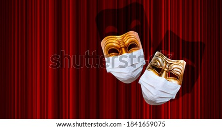 Comedy and tragedy theatrical mask wearing protection medical mask for Corona virus (Covid-19) - Red theater curtain Stockfoto ©