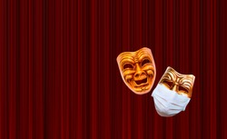 Comedy theatrical mask no protective mask - Comedy and tragedy theatrical mask wearing protection medical mask for Corona virus (Covid-19) - Red theater curtain