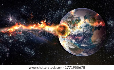 Photo of  Comet, asteroid, meteorite glows, attacks, enters falls attacks the earth's atmosphere. End of the world. Collision of asteroid with the planet Earth. Elements of this image furnished by NASA.