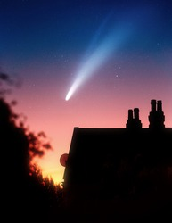 Comet Neowise and its gas and dust tails in the night sky after sunset. Photo composite.
