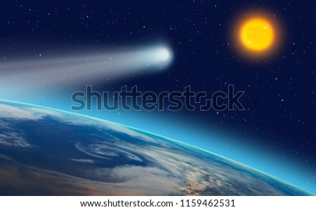 """Comet on the space  """"Elements of this image furnished by NASA """" #1159462531"""