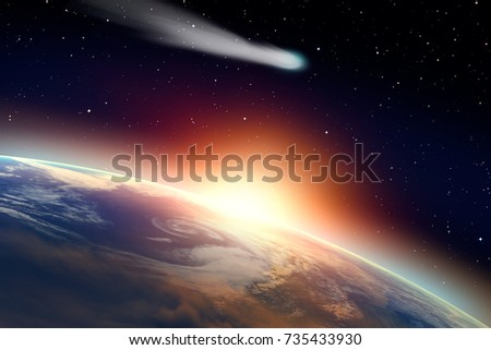 """Comet on the space""""Elements of this image furnished by NASA """" #735433930"""