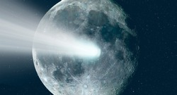 Comet on the space with moon