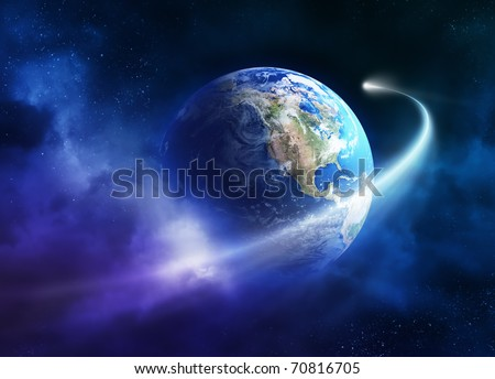 Comet passing earth in a nebula cloud ( earth uv map from http://visibleearth.nasa.gov )
