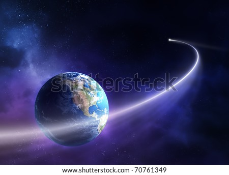Comet passing in front of planet earth (3D uv map from http://visibleearth.nasa.gov)