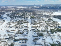 Comfort Texas covered in snow during the Texas Winter storm week of 2021