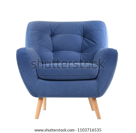 Comfortable armchair on white background. Interior element #1103716535