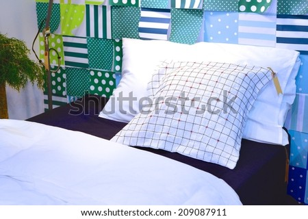 Comfortable bed sets of pillows and blanket- home interior