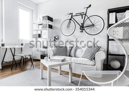 Comfortable black and white interior design apartment