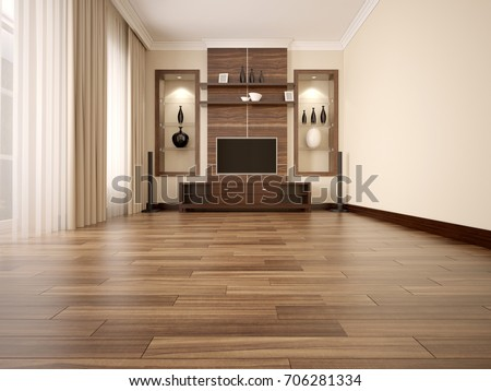 Comfortable contemporary living room with TV-unit. Wooden floor. 3d render.