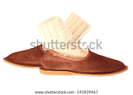 comfortable domestic fluffy slippers isolated