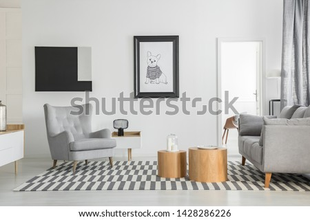 Comfortable grey armchair in elegant living room interior with white furniture and two wooden coffee tables