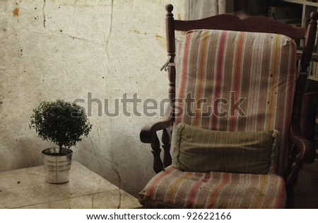 comfortable home interior.  Photo in old image style.