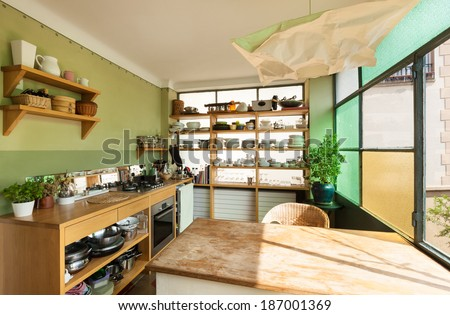comfortable kitchen interior of a nice loft