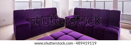 Comfortable living room desing and violet furniture #489419119