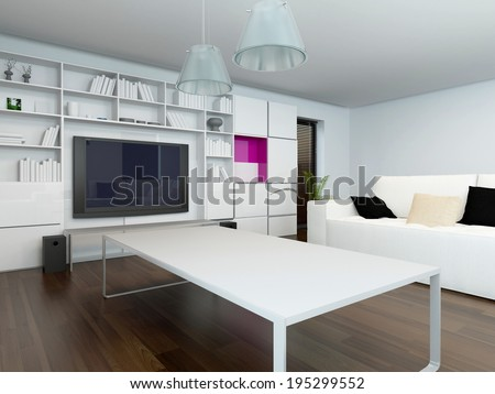 Comfortable modern living room interior with a large television set in a wall mounted cabinet and bookshelf and a coffee table and settee in neutral white decor