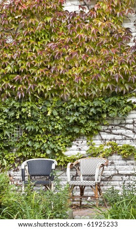 comfortable place to sit with a view to the backyard.  chairs in the garden on a day in autumn.