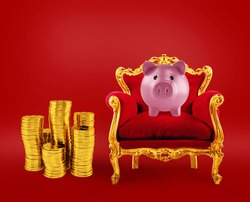 Comfortable red and golden armchair with a piggybank. Concept as premier savings service