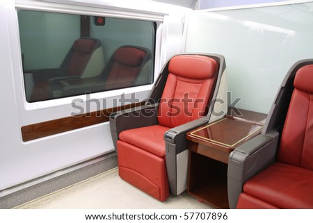 comfortable seating in the high-speed train.