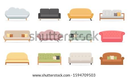 Comfortable sofas. Luxury couch for apartment, comfort sofa models and modern house sofas. Domestic couch furniture, cozy luxury fashion sofas. Flat  isolated illustration icons set