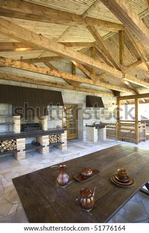 Comfortable veranda  in rustic house