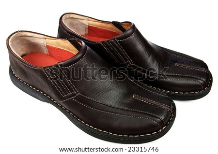 Comfortable walking shoes -  closeup isolated on white